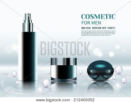 Set of cosmetic products and perfumes for men. 3D various black aerosol bottles, body lotion and perfume on silver background.Collagen solution and vitamins