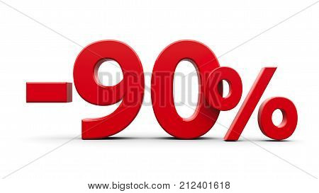Red minus ninety percent sign isolated on white background three-dimensional rendering 3D illustration