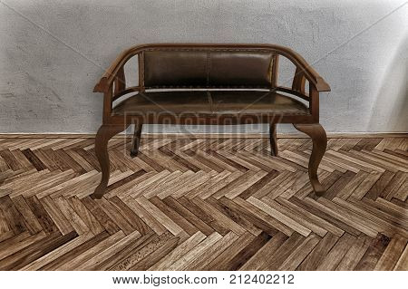vintage bench on parquet floor and grey wall