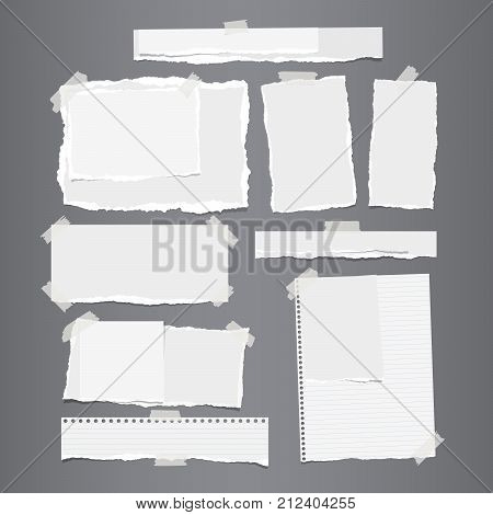 White ripped horizontal and vertical paper strips, notebook, note paper for text or message stuck with sticky tape on gray background