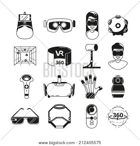 Symbols of virtual reality. Game panoramic in 3d rotation. Vr glasses and other tools. Vector monochrome illustrations. Virtual video simulation panoramic, panorama rotate gaming sphere
