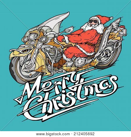 Santa on a motorbike vector illustration flat style side