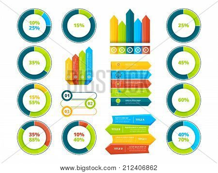 Pie graphs, vertical and horizontal arrows. Infographic elements. Chart and graph, arrow diagram and step graphic, vector illustration