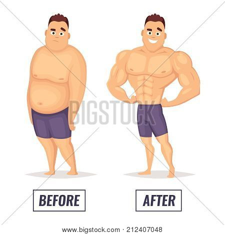 Two characters fat and muscular man. Visualization of loss weight. Male muscular body and health, overweight man. Vector illustration