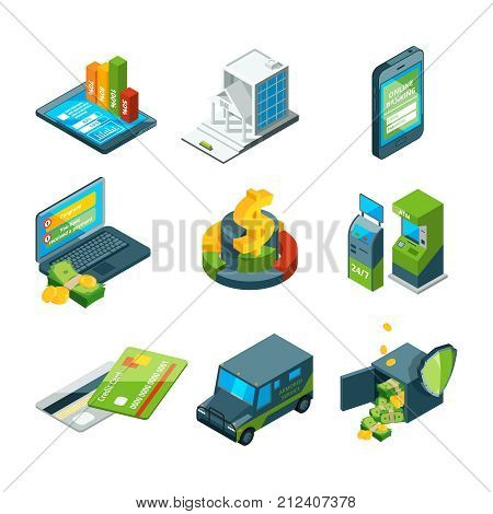 Digital banking. Online bank transaction. Digital operation. Isometric business icon set. Vector bank transfer, credit banking transaction illustration