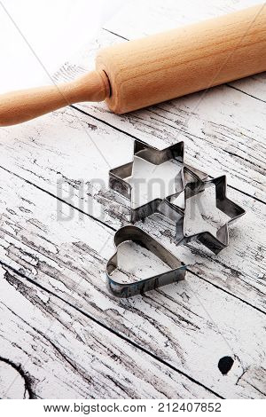 Baking utensils for cookie on wooden background