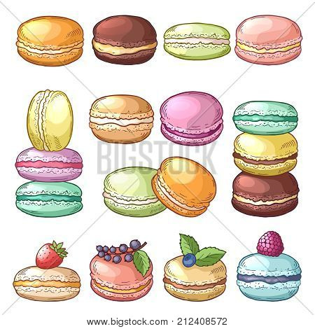 Colored illustrations of delicious macaroons. French pastry and sweet delicious dessert vector