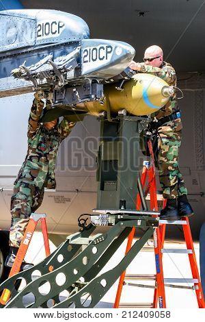 Loading Bombs On B-52 Bomber