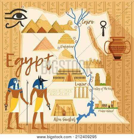 Stylized Map of Egypt with different cultural objects and landmarks. Egypt map travel with ancient landmark sphinx and pyramid. Vector illustration