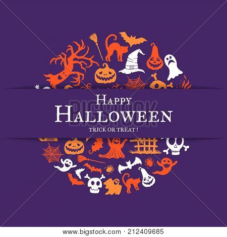 Vector halloween background with place for text with cricle of creepy witches, ghosts and pumpkins. Halloween holiday, ghost and spider, trick or treat illustration