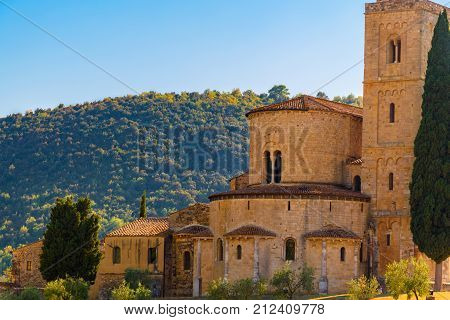 View Of The Ancient Romanesque Church Of Sant'antimo Near Montalcino In Tuscany.