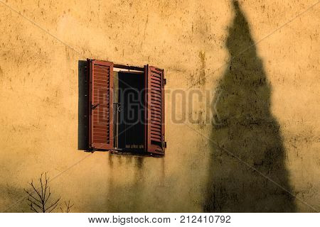 Detail of the facade of a building with a window and the shadow of a cypress tree.