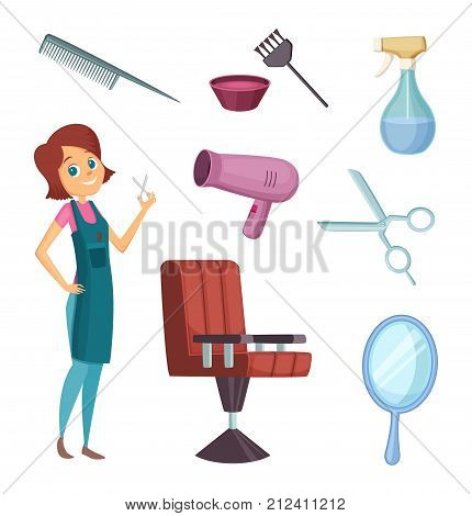 Female barber at work. Stylist with different tools for barbershop. Fashion pictures in cartoon style. Hairdresser and comb mirror scissor, armchair workplace. Vector illustration