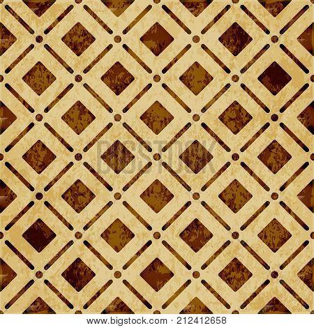 Retro Brown Watercolor Texture Grunge Seamless Background Round Corner Square Check Cross Line