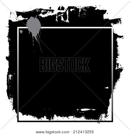 Abstract textured ink brush background with frame