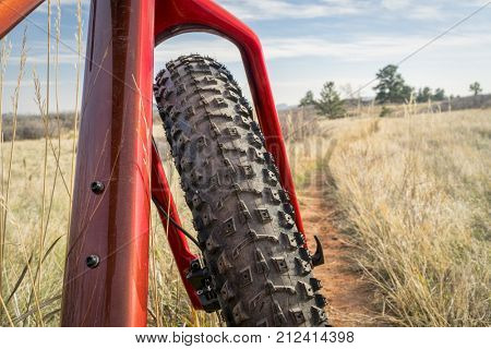fat bike on a single track trail in Colorado foothills - Lory State Park