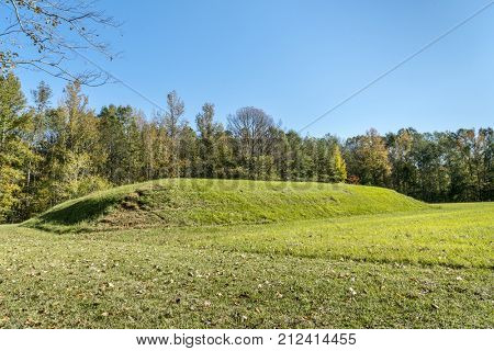 Bear Creek Mound and Village Site  along the Natchez Trace Parkway in MIssissippi built sometime between 1100 and 1300 A.D. for ceremonial or elite residential use