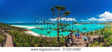 WHITSUNDAYS, AUS - SEPT 22 2017: Lookouts over the Whitehaven Beach in the Whitsunday Islands, Queensland, Australia