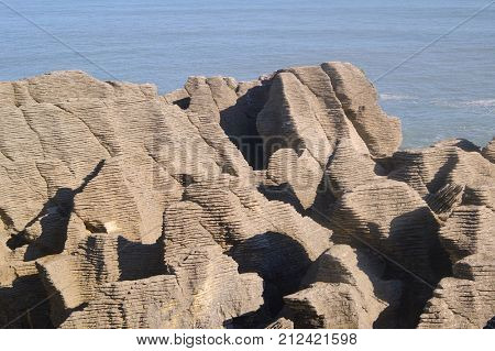 Pancake rocks an unusual geological formation of sedimentary rocks in New Zealand's South Island