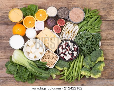 Food rich in calcium, top view