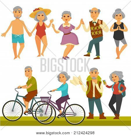 Older people fun leisure and sport activity life style. vector flat icons of old man and woman travel on bicycle, relax on beach and dancing or outdoor hiking. Happy grandmother and grandfather couple