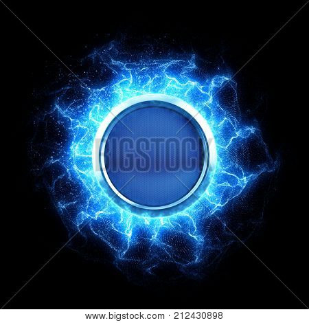 Energy button with energy waves on black bfckground - 3d rendering