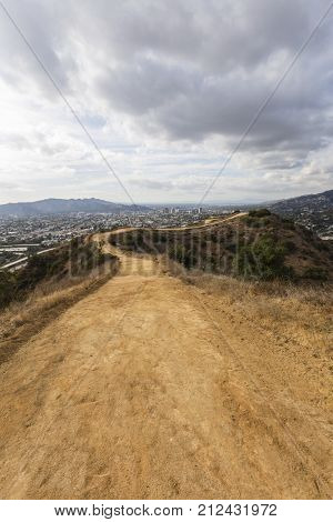 Urban hilltop hiking trail above Los Angeles and Glendale in Southern California.