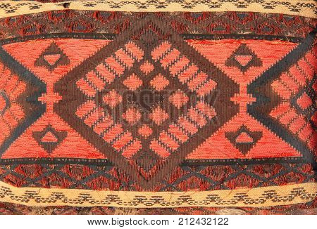 Texture of berber traditional wool pillow with geometric pattern, Morocco, Africa