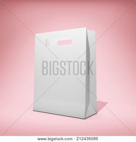 Blank branded bag on pink background. 3D illustration.