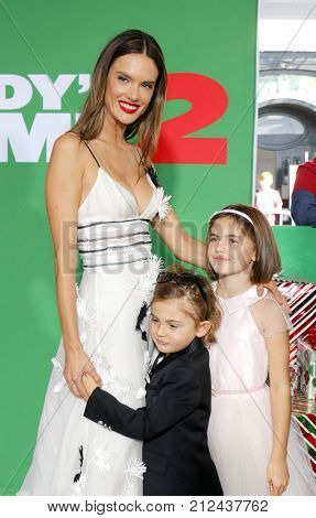 Alessandra Ambrosio, Noah Ambrosio Mazur and Anja Ambrosio Mazur at the Los Angeles premiere of 'Daddy's Home 2' held at the Regency Village Theatre in Westwood, USA on November 5, 2017.