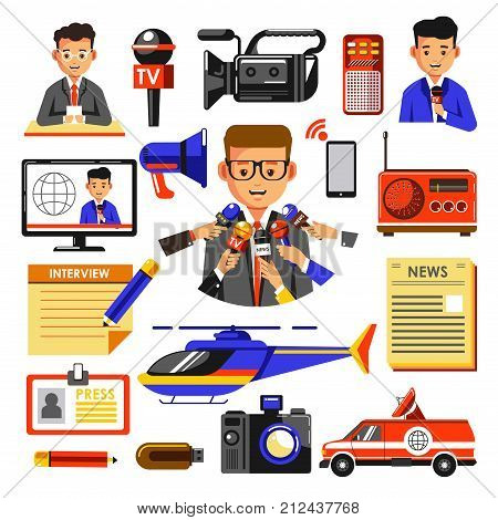 News vector flat icons template. Isolated symbols of TV news reporter microphone, cameraman video or photo camera, newspaper or television and radio for breaking media incident reportage