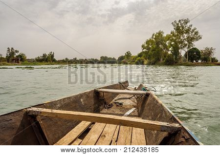 Pirogue on the river Niger in Mali