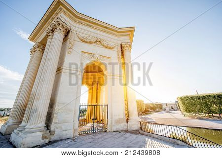 View from below on the water tower in Peyrou garden during the morning light in Montpellier city in southern France