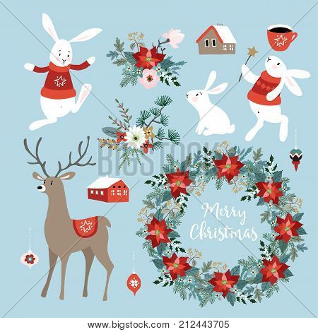 Set of cute Christmas clip-arts with bunnies, reindeer, winter flowers, Christmas wreath and balls, scandinavian design. Isolated hand drawn vector objects.