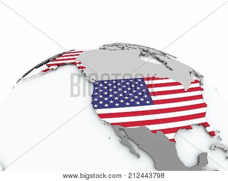Flag Of Usa On Globe