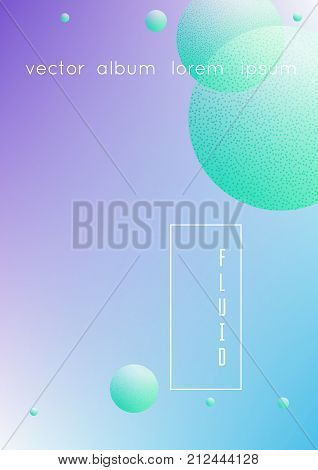 Minimal shapes cover with holographic fluid and halftone dots texture. Gradient shapes on vibrant background. Modern template for placard, presentation, banner. Minimal shapes cover in neon colors.