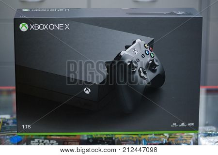 London, november 6, 2017: New Xbox One X console box