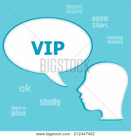 Text Vip. Social Concept . Silhouette Of A Head With Speech Bubble