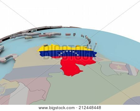 Political Map Of Venezuela On Globe With Flag