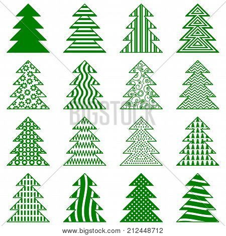 Christmas Trees Set, Green Pictogram Isolated on White Background, Winter Holiday Symbols. Vector