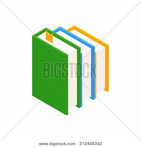 Vertical stack of colored books in isometric.education infographic template design with books pile.Set of book icons in flat design style.vector illustration isolated from background