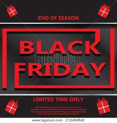 Black Friday Sale Inscription Design Template. Banner. Illustration