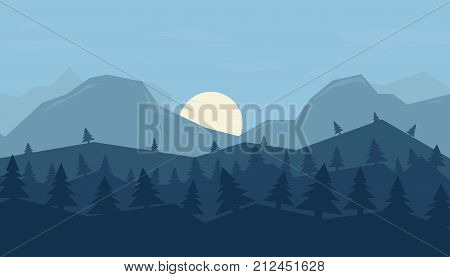 Vector background with winter landscape - mountains forest. Mountains background in a flat style
