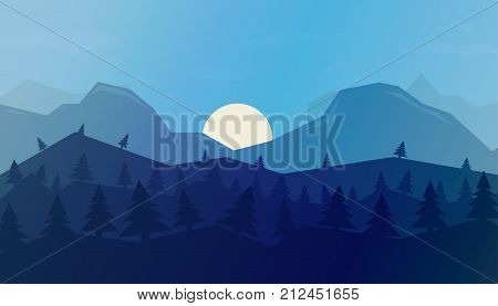 Vector horizontal background with winter landscape - mountains forest. Mountains background in a flat style