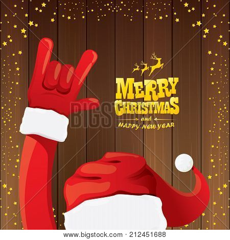 vector cartoon Santa Claus rock n roll style with golden calligraphic greeting text on wooden background with christmas star lights. Merry Christmas Rock n roll party poster design or greeting card.