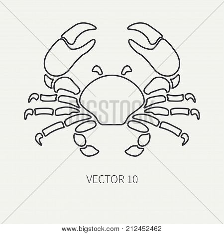 Line flat plain vector ocean fauna icon big crab. Simplified retro. Cartoon style. Cancer. Omar. Seafood delicacy. Shell. Claw. Sea. Crustacean. Illustration, element for your design and wallpaper