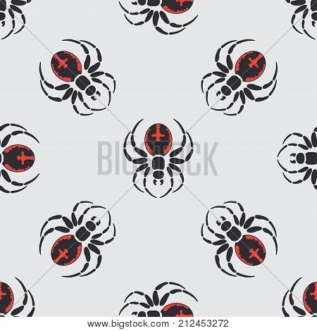 Flat color vector seamless wildlife fauna pattern with black widow spider. Helloween. Cartoon style. Insect. Web. Entomology. Art. Nature. Predator. Illustration, element for your design wallpaper