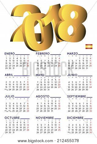 Spanish Calendar 2018 Vertical White