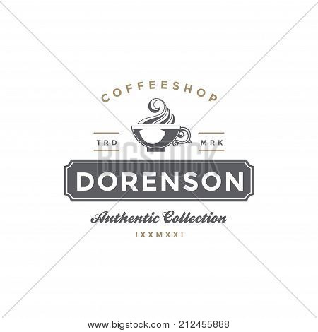 Coffee Shop Logo Template. Coffee Cup or Tea Silhouette Isolated On White Background. Vector object for Labels, Badges, Logos Design.