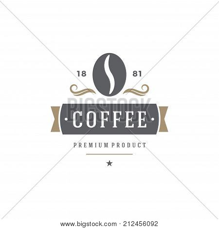 Coffee Shop Logo Template. Bean Silhouette Isolated On White Background. Vector object for Labels, Badges, Logos Design.